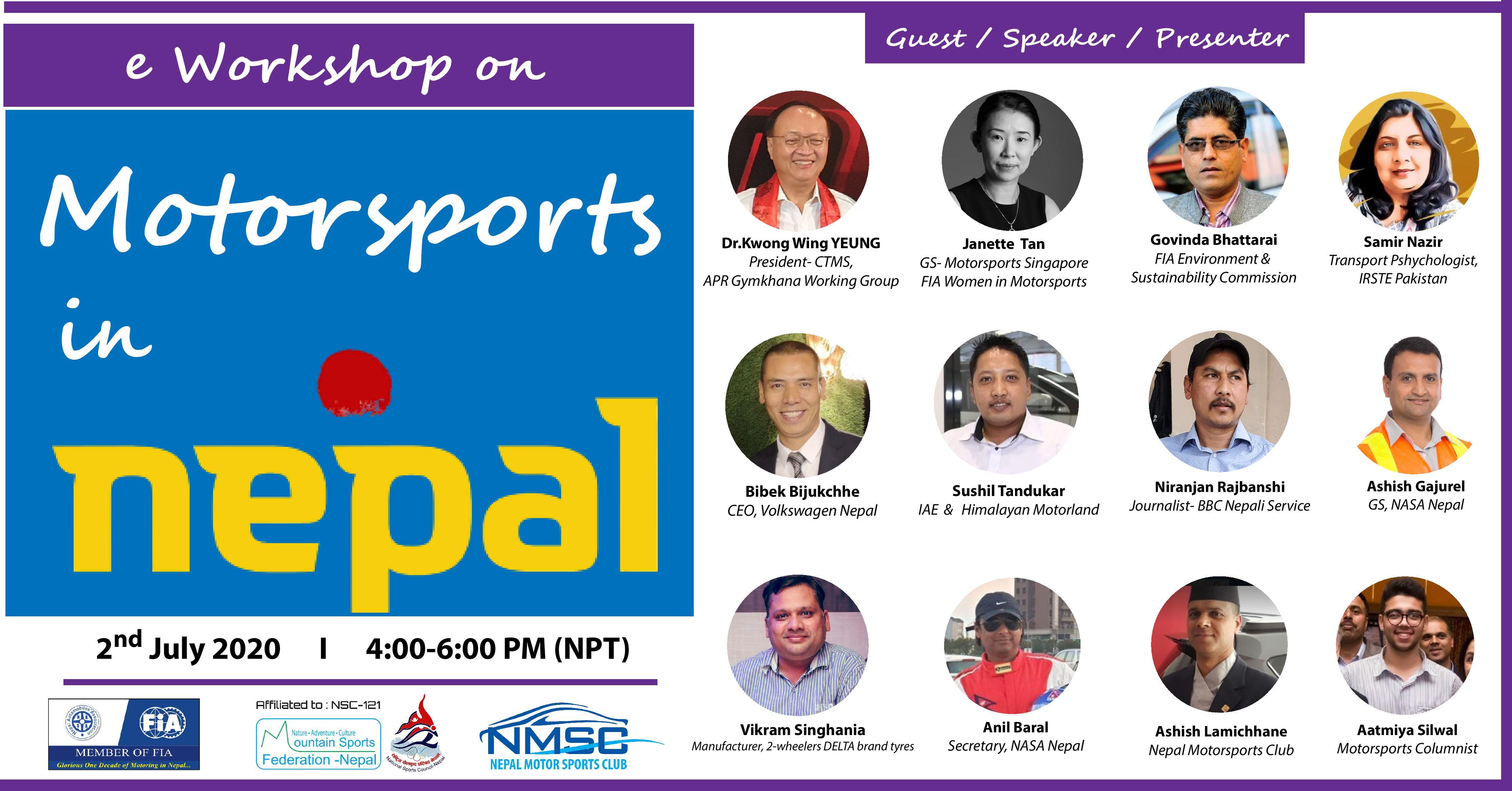 eWorkshop on Motor Sports in Nepal, 2 July 2020